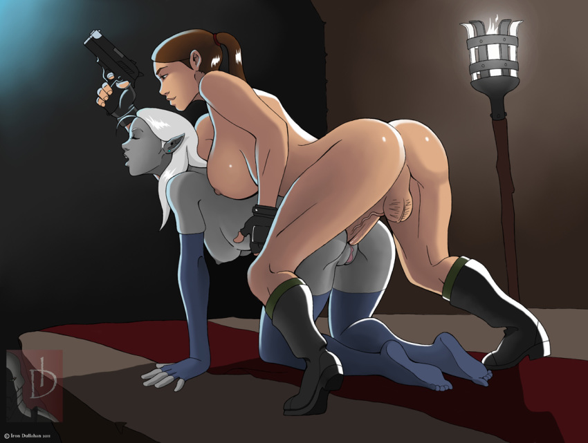 and bound gagged lara croft You dare bring light to my lair you must die
